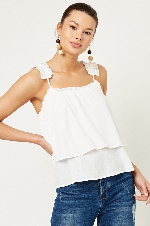 Tiered Pleated Strap Tank | Off White