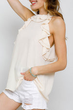Dobby Sleeveless Top | White Swan