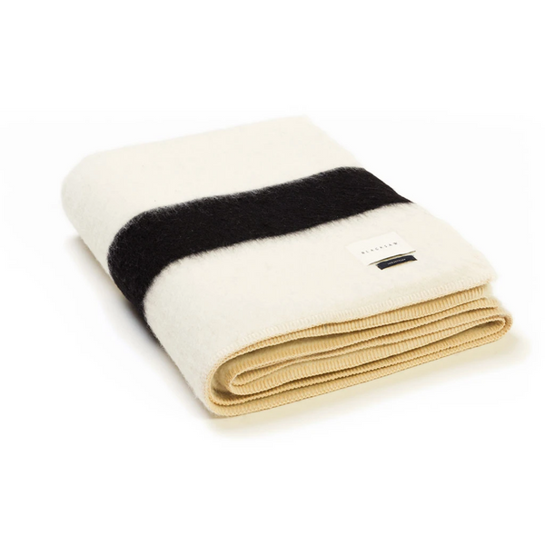 The Siempre Recycled Blanket - Ivory/Black Stripe