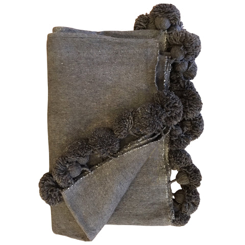 Nappe Pompom Throw Taupe