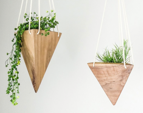 Triangle Hanging Planter - Walnut