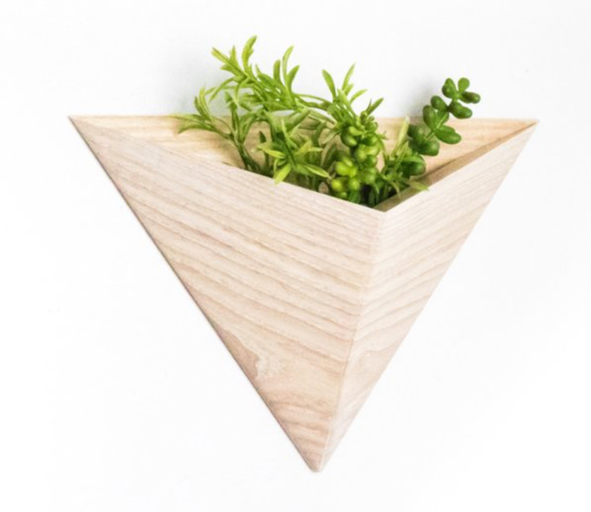 Triangle Wall Planter - White Ash