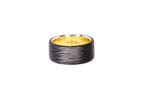 Carbon Fiber and yellow gold ring made by Carbon Fi