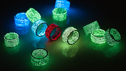 Glow in the dark matrix carbon fiber rings in various colors by Carbon Fi