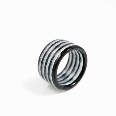 White Aurora Carbon Fiber Ring