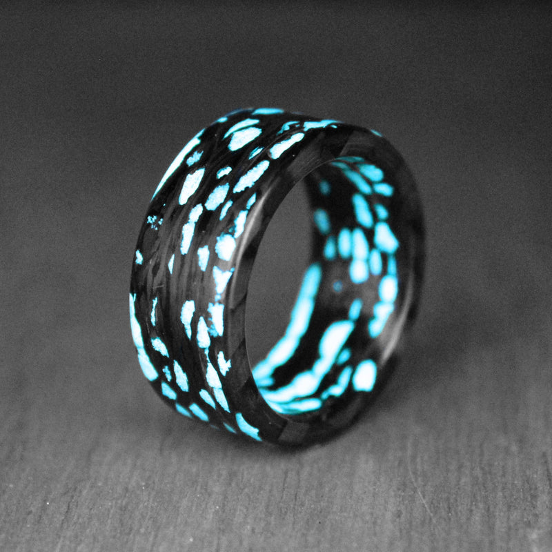 Blue Alien Carbon Fiber Ring