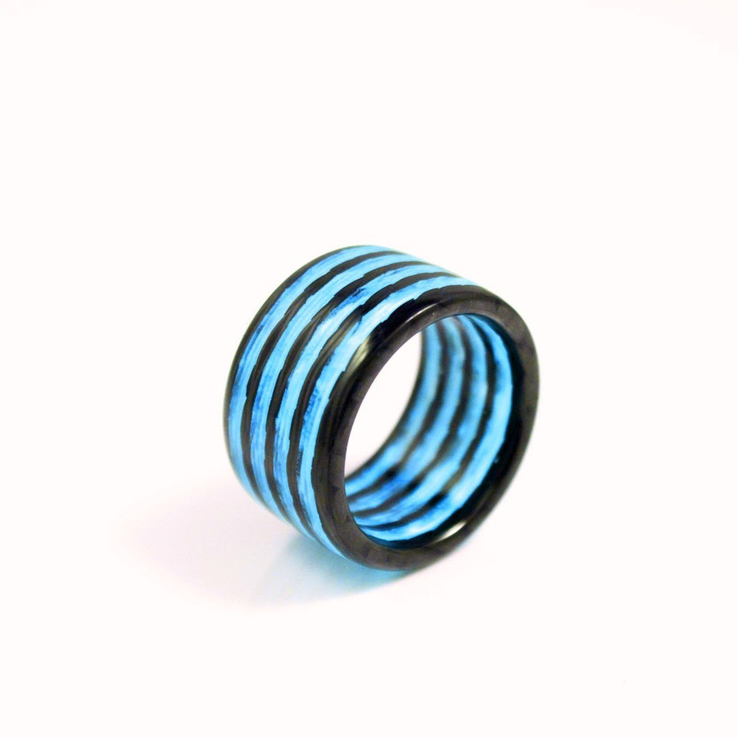 Blue Aurora Carbon Fiber Ring