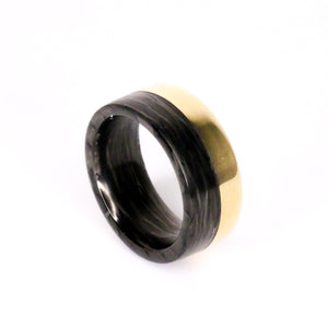 Split Carbon Fiber Gold Ring