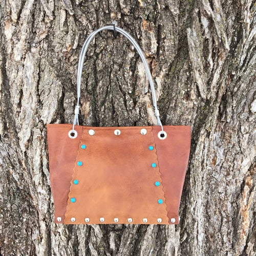 Brown Leather purse w/ Turquoise Sones