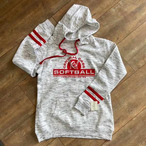 CC Softball Mélange Fleece Striped-Sleeve Hooded Sweatshirt