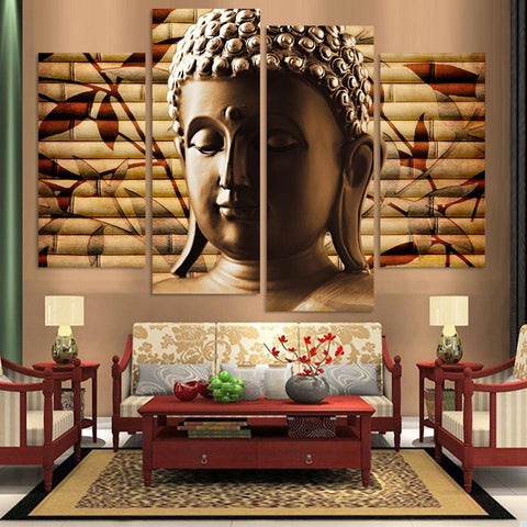 BUDDHA 4 PANEL OIL PAINTING - The Wall Art Gallery