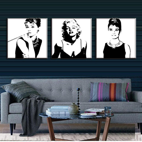 3 PCS/SET  VINTAGE  PORTRAIT PAINTINGS MARILYN MONROE AND AUDREY HEPBURNl - The Wall Art Gallery
