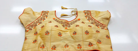 CL - Golden Beige with Orange Piping - Banaras katan
