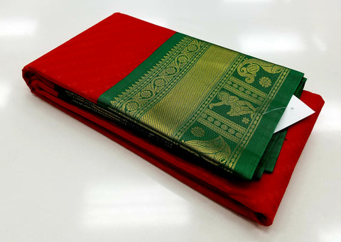 TSH150 - Sindhoor Red with Green Korvai Border