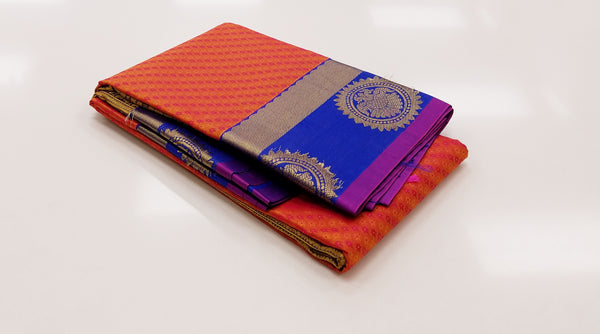 TSH150 - Triple shaded Pink/Orange/Gold with MS Blue korvai