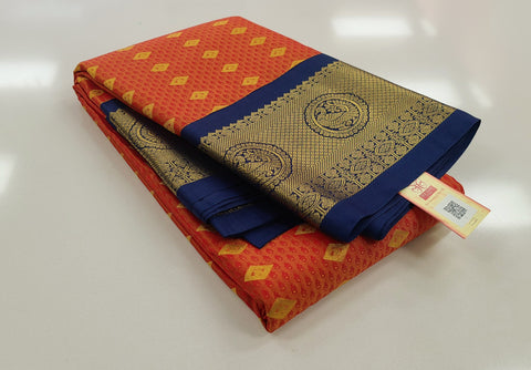 KSS - Rustic Orange with Navy Blue Korvai