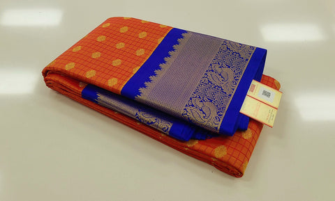 KSS - Orange with Royal Blue Korvai