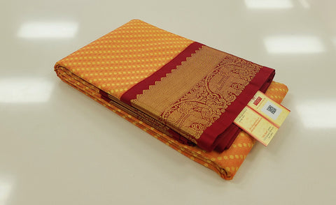 KSS - Peachy Orange with Maroon Korvai