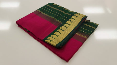 KSC -  Dark Magenta with Emerald Green Korvai