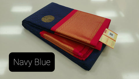 KSS - Navy Blue with Reddish Pink Korvai