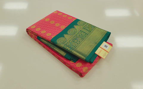 KSS - Double shaded Salmon Pink with Emerald Green Korvai