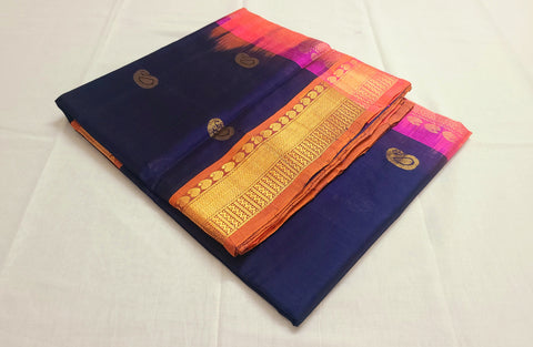 KSC - Navy Blue with Pinkish Orange Korvai