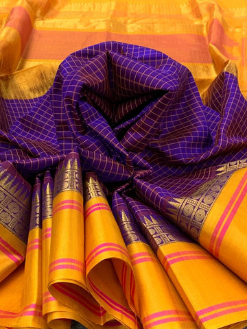 KSC -  Dark Violet with Yellow Korvai