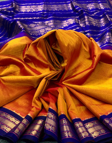 KSC -  Marigold Yellow with Midnight Blue Korvai