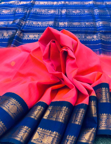 KSC -  Carnation Pink with Royal Blue Korvai