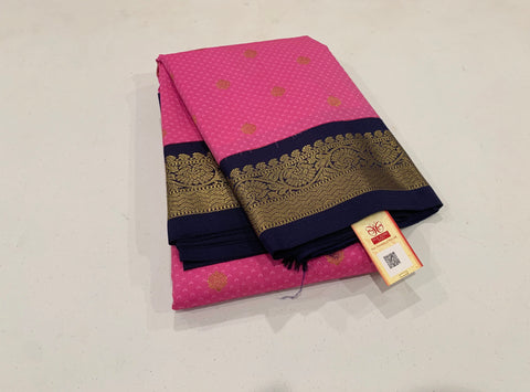 KSS - Lotus Pink with Navy Blue Korvai