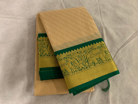 KSS - Beige with Emerald Green Korvai