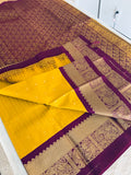 KSS - Mustard yellow with Double shaded Wine Korvai