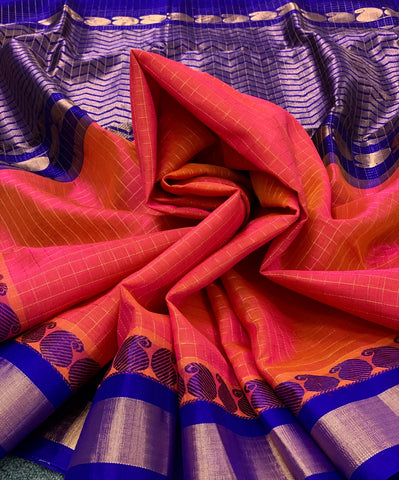 KSC -  Double shaded Salmon Pink with Cobalt Blue Kottadi
