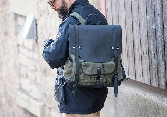 "Laptop Backpack - Waxed Canvas Backpack For 15"" Laptops"
