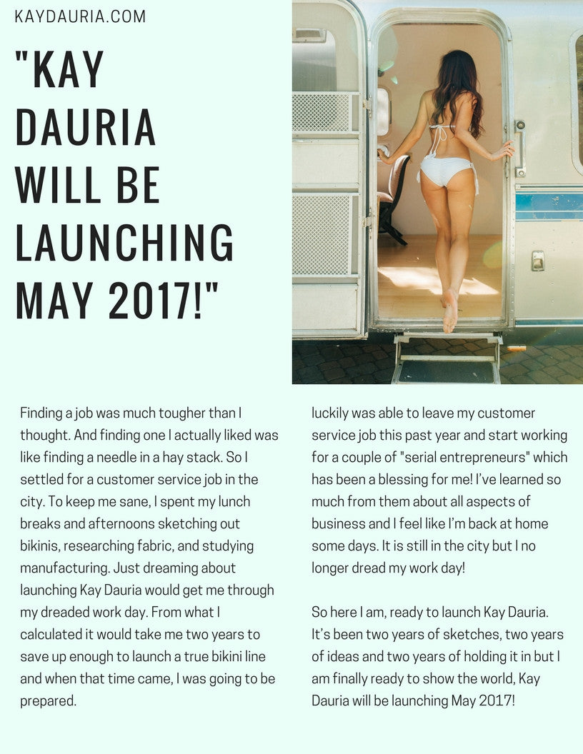 Kay Dauria Launches May 15th