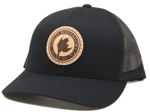 Black Leather Patch Logo Trucker Hat-hat-Limits Waterfowl Co.-Black-Limits Waterfowl Co.