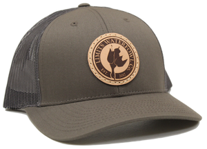 Chocolate Chip/Grey Brown Leather Patch Logo Trucker Hat-hat-Limits Waterfowl Co.-Limits Waterfowl Co.