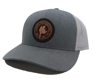 Dark Leather Patch Trucker-H. Gray/White-hats-Limits Waterfowl Co.-Limits Waterfowl Co.