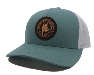 Dark Leather Trucker-Smoke Blue/White-hat-Limits Waterfowl Co.-Limits Waterfowl Co.