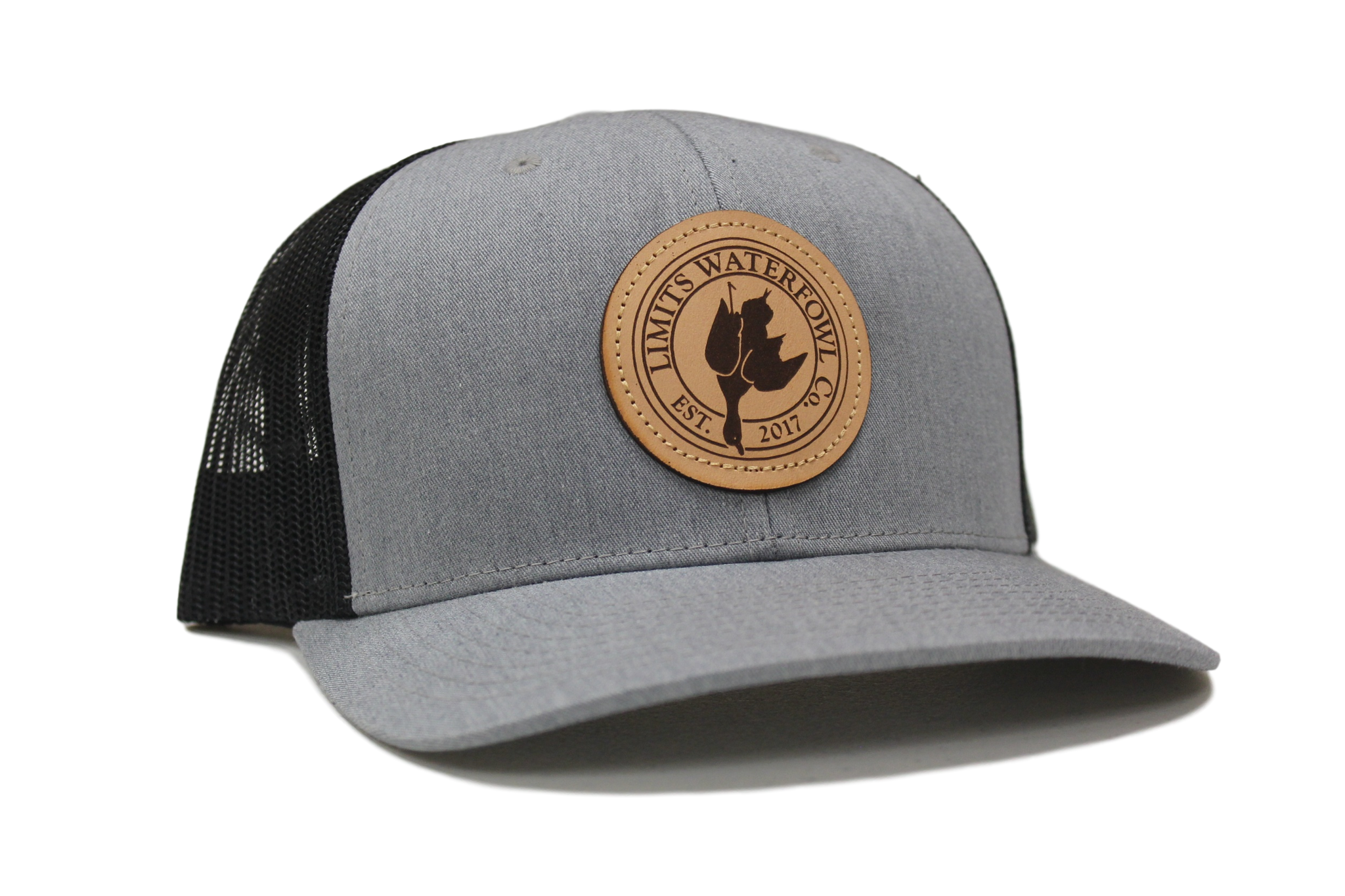 Leather Patch Logo Trucker-Gray and Black-hat-Limits Waterfowl Co.- 0cfbc2388bf