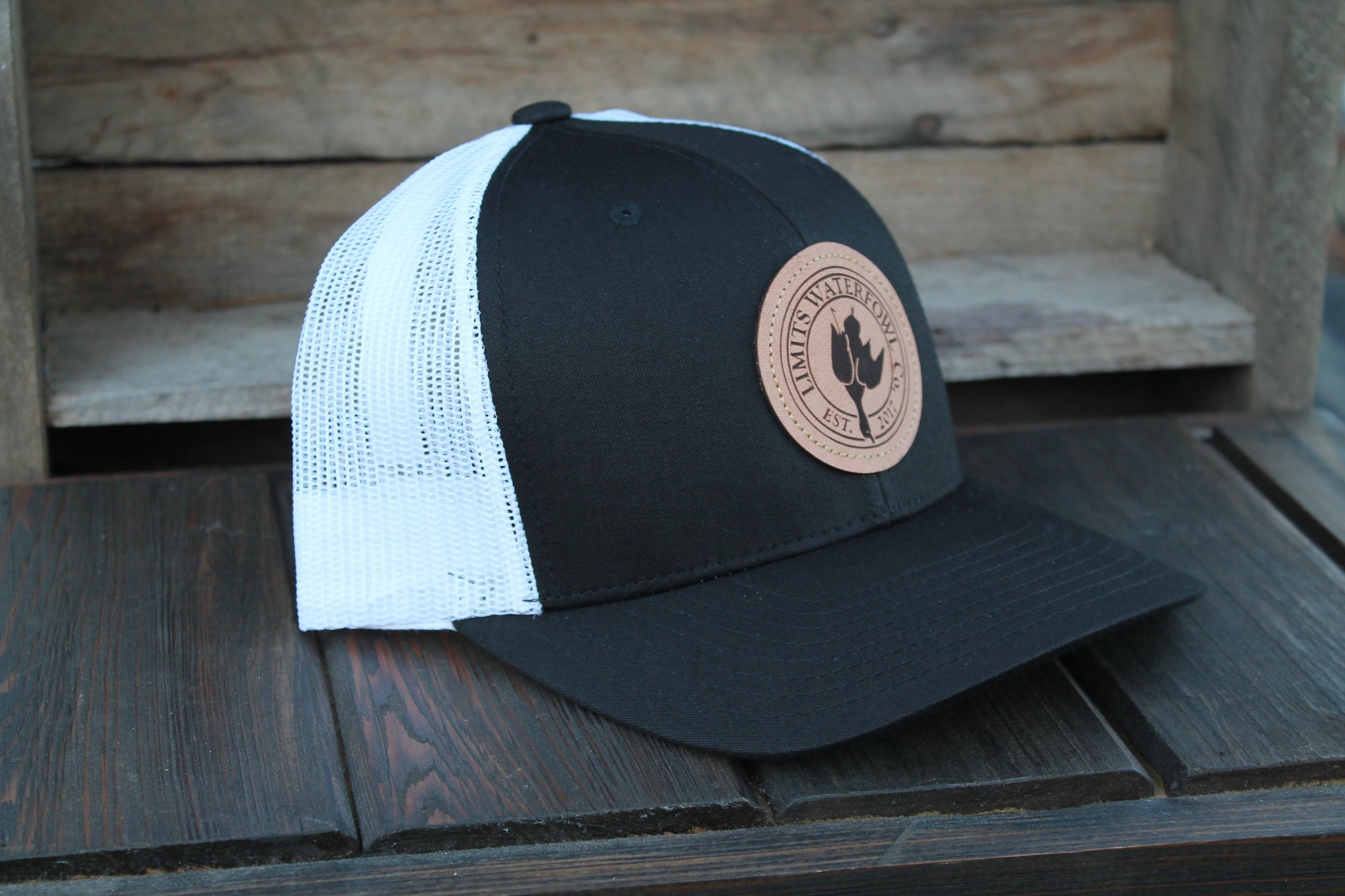 27bc681a4b2 Leather Patch Logo Trucker Hat-Black-hat-Limits Waterfowl Co.-Black
