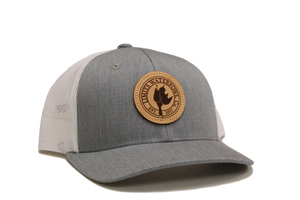Leather Patch Logo Trucker Hat-Gray/White-hat-Limits Waterfowl Co.-Limits Waterfowl Co.