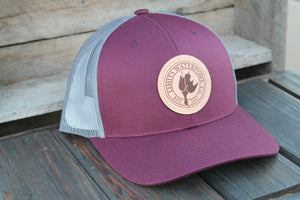Leather Patch Logo Trucker Hat-hat-Limits Waterfowl Co.-Burgundy/Charcoal-Limits Waterfowl Co.