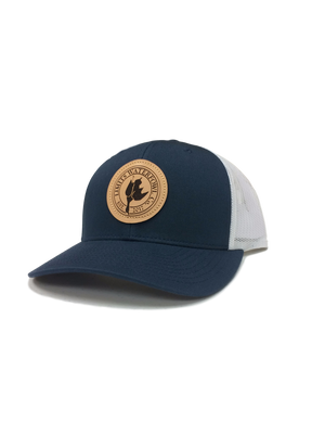 Leather Patch Logo Trucker Hat-hat-Limits Waterfowl Co.-Grey/White-Limits Waterfowl Co.