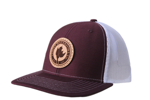 Leather Patch Logo Trucker-Maroon/White-hat-Limits Waterfowl Co.-Limits Waterfowl Co.
