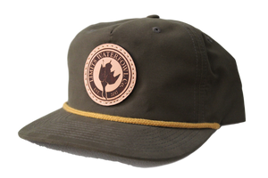 Leather Patch Logo Trucker-Pinch Front-hat-Limits Waterfowl Co.-Limits Waterfowl Co.