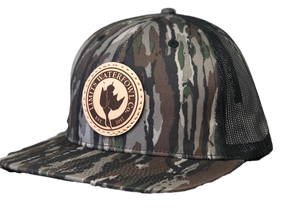 Leather Patch Logo Trucker-Realtree Original-hat-Limits Waterfowl Co.-Limits Waterfowl Co.