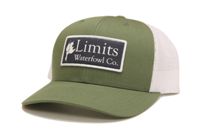 Olive/White Patch Trucker-hat-Limits Waterfowl Co.-Limits Waterfowl Co.