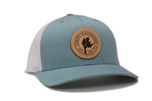 Smoke Blue Leather Logo Patch Trucker-hat-Limits Waterfowl Co.-Limits Waterfowl Co.