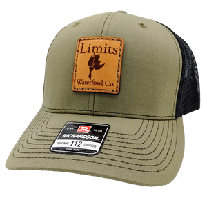 Square Leather Patch Trucker-hat-Limits Waterfowl Co.-Limits Waterfowl Co.